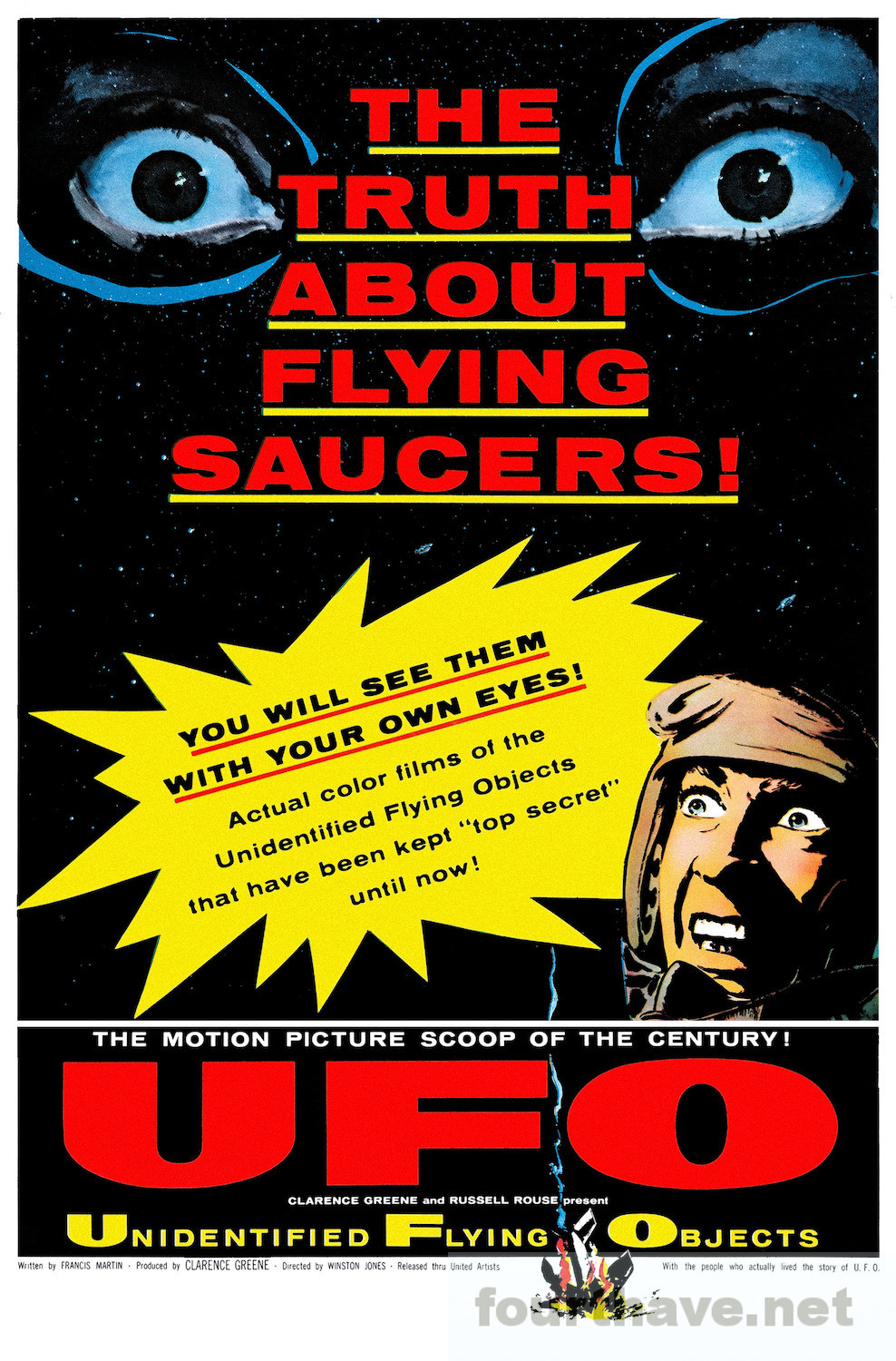 UFO (1956) #movie#poster#movie poster#UFO#unidentified flying object#motion picture scoop#actual color films#top secret#truth#flying saucers#semi-documentary