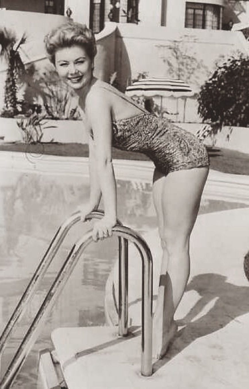 Mitzi Gaynor by the pool