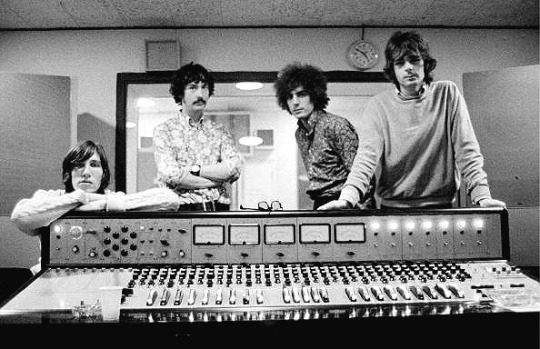 Pink Floyd in recording studio control room, 1967.