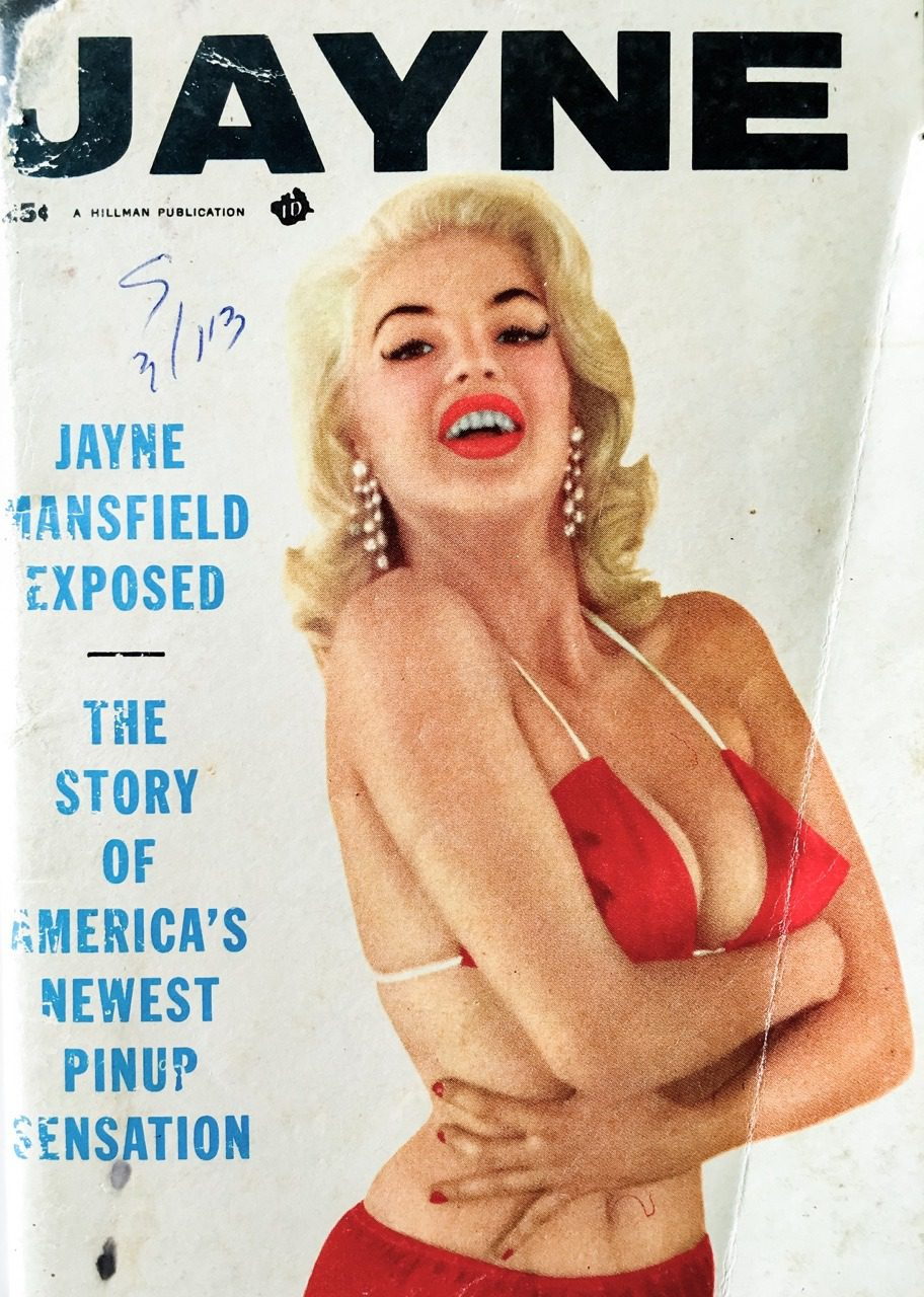 Jayne and her amazing tits on the cover of a 50s magazine