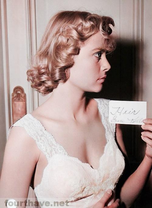 Grace Kelly, hair test for the murder scene in Dial M For Murder, 1954