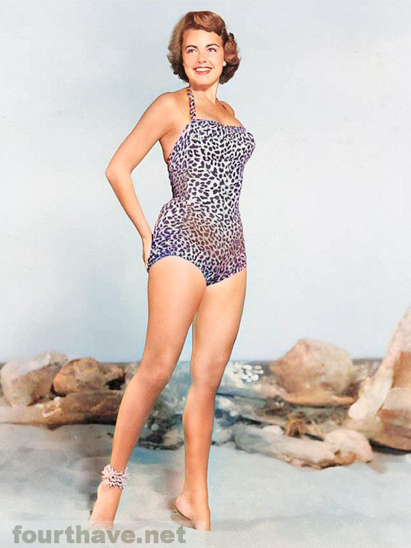 Terry Moore in a leopard suit